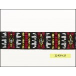 """1"""" Black, Red, Grey and Yellow Jacquard Tape"""