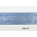 "1 1/2"" Sky Blue and Silver jacquard"