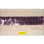 """5 Rows Sequin 7/8"""" Sewn On 2 1/8"""" Mesh Mauve"""