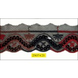 """Sequin Embroidered On Black Mesh 1 5/8"""" Black, Red and Brown"""