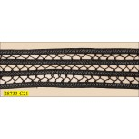 "Spaghetti 4 Rows with Lurex and Fagotting 1 5/8"" Black and Silve"