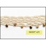 "1"" Natural crochet lace with Earth tone Beads"