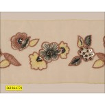 "Beaded and Sequins Floral Embroidered in Center Organza Tape 4"" Yellow, Brown and Pewtee"