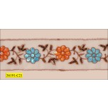 "Beaded and Sequins Floral Embroidered on White Mesh 2"" Orange, Turquoise and Brown"