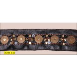 """Bead and Sequins Imitate Leather with Rust Lurex 1 3/4"""" Brown and Antique Brass"""