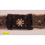 "Beaded Woven Frayed Tape with Leather Flower 2 1/4"" Brown and Beige"