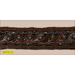 "Beaded Velvet Ribbon with Lurex 1 3/4"" Brown and Gold"