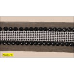 Chiffon with 6 rows silver studs and stones 4cm Black