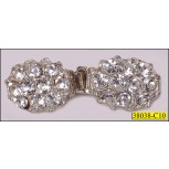 Silver Rhinestone Button closure 1 7/16''