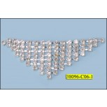 "Rhinestone Triangle without Ring 1 1/8x3 1/4"" Clear and Silver"