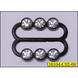 2cm Black buckle with 3 Clear rhinestones on each sides