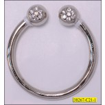 "Metal Open Ring with 2 Ball Each End with Rhinestone 1 1/2"" Nickel"