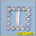 Immitate Rhinestone Square Slider Buckle Inner Diameter Silver