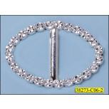 Immitate Rhinestone Oval Slider Buckle Inner Diameter  Silver