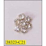 "Rhinestone Hot Fix Flower 7/16"" Clear and Silver"