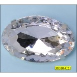 Faceted Oval Stone with Pin 45mmx30mm Nickel and Clear