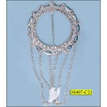 "Buckle Round with Rhinestone in Bar and Chain Hanging 1 9/16"" Clear and Nickel"