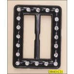 Buckle Rectangle Immitation Rhinestone Inner Diameter 38mm Black and Silver