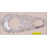 "Attachment Metal with Rhinestone and 2 Cut-out 3 1/2"" Clear and Nickel"