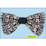 "Brooch Zipper Bow Beaded 4 5/8""x2 1/4"" Black and Silver"