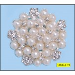 "Brooch Rhinestone and Pearl Round 1 3/4"" Clear and Ivory"