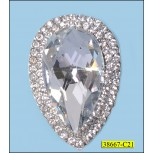 Rhinestone Brooch petal shape with one bead  Silver and Clear