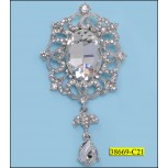 Rhinestone Brooch Flower shape with bead Silver and Clear