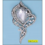 Rhinestone Brooch designed with bead Silver and Clear