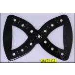 """Buckle """"8"""" shape with Rhinestones 4X2 3/4"""" Black and Clear"""