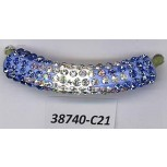 Tube curve w/R.stones 1 3/4 Blue/White/Clear