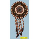 "Applique Beaded Round Patch with 5 Beads String 2 1/2"" Copper, Ivory and Brown"