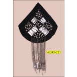 "Applique Triangular Beaded with Fringe 5 1/2"" Black and Gunmetal"
