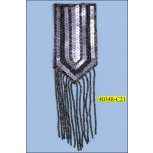 "Triangular Applique with Sequins and Fringe Beads 4 3/4""x2 5/8"" Gunmetal"