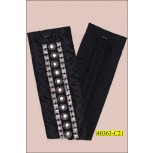 "Applique Rectangle with Square and Round Studs 18 1/2"" Black and Silver"
