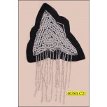 "Applique Triangular with Pearl and Hanging Beads 4 3/8"" Black and White"