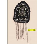 """Brooch with Beads and Chain on Felt  3 1/2""""x2 1/2"""" Black and Silver"""