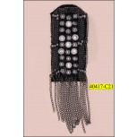 "Applique with Rhinestone and Chain  3 5/8""x1 3/4"" Black and Silver"