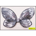 "Applique Sequins Butterfly Embroidered Edges 4""x3 3/4"""