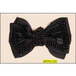 "Applique Bow with long and small beads 3x2"" Black"