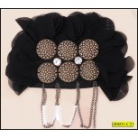 "Chiffon Applique with Metal Chain Tassel 3x71/2"" Black and Silver"