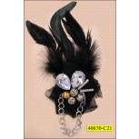 Applique with Feather, Pin and Beads Haging Chain on Black mesh