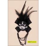 Applique with Brooch Organsa Rhinestone 3 1/2'' Black Feather Hanging chain