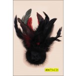 Applique with Brooch flower Fur 5 1/2'' Black and Red Feather