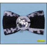 Twill tape Bow, Satin with center Rhinestone 11/4x3/4""