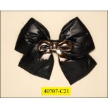 "Brooch puffy poly bow with Gold S bow 4 3/8x3 7/8"" Black"