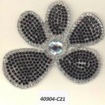App. HF Flower w/R.stones&Stone3x2 Clear/Black