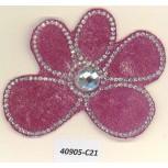 App. HF Flower w/R.stones&beads3x2 Clear/Fushia