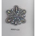 App.flower shape w/muti beads 1 1/2Sil/Rainbow