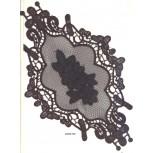 App. guipure diamond shape w/leather11 1/2x7BLK