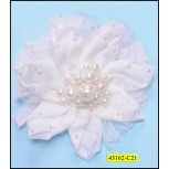 Silk Flower Applique with Chiffon and pearls 12cm White